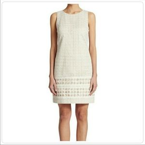 VINCE CAMUTO l White Eyelet Sheath Dress Sz 10